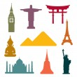 Stock Vector: World famous monuments