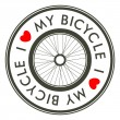 Stock Vector: I Love My Bicycle emblem