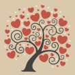 Abstract tree with hearts — Stock Vector