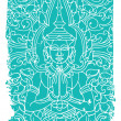 Buddha ornate vector illustration — Imagen vectorial