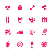 Diet and fitness theme icons set — Stock Vector