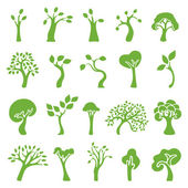 Green trees set — Stock Vector