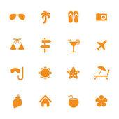 Sommar semester tema ikoner — Stockvektor