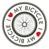 I Love My Bicycle emblem — ストックベクタ