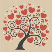 Abstract tree with hearts — Vector de stock