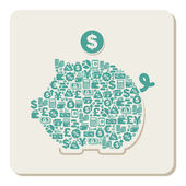 Piggy bank with money and shopping theme icons — Stockvector