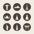 World famous monuments icons set — Stock Vector