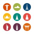 Travel destinations icons — Stock Vector