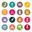 图库矢量图片: Office supplies icons set