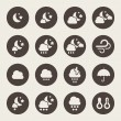 Stock Vector: Weather night icons set