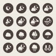 图库矢量图片: Weather night icons set