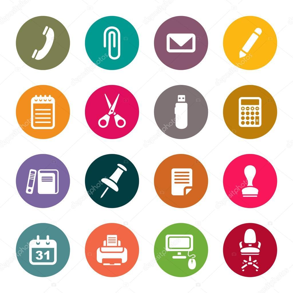 Conjunto de iconos de material de oficina vector de for Office service material de oficina