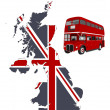 Stock Vector: British map and double-decker