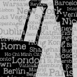 Silhouette of woman with travel bag and cities' names background — Image vectorielle