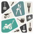 Gardening tools background — Vettoriale Stock #33570983
