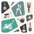 Stock Vector: Gardening tools background