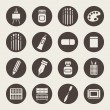 Art materials icons set — Stock Vector