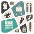 Vector de stock : Art theme icons set