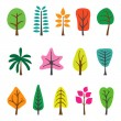 Collection of trees — Imagen vectorial