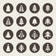 Stok Vektör: Christmas tree icons set