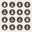 Stock Vector: Christmas tree icons set