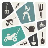 Herramientas de jardinería fondo — Vector de stock
