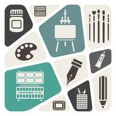Art theme icons set — Stock Vector