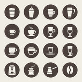 Kaffe ikoner — Stockvektor
