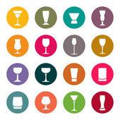 Drinken glazen pictogrammen — Stockvector