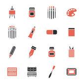 Art materials icons set — ストックベクタ