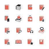 Boken ikoner set — Stockvektor