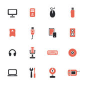 Computer apparaten thema iconen set — Stockvector