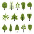 Stock Vector: Green trees collection