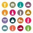 图库矢量图片: Travel landmarks icon set