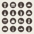 Travel landmarks icon set — Stockvectorbeeld