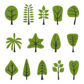 Green trees collection — Stock Vector