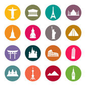 Travel landmarks icon set — ストックベクタ