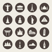 Travel landmarks icon set — Stock Vector