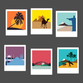 Travel landmarks photos set — Stockvector