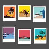 Travel landmarks photos set — Stock Vector