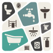 Stock Vector: Bathroom items background