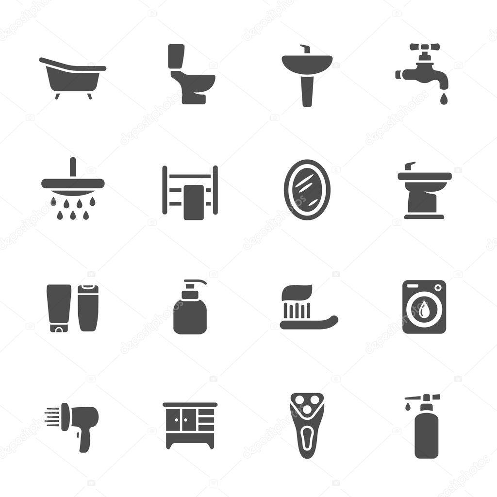 Baixar Banheiro conjunto de ícones — Ilustração de Stock  #666666 1024x1024 Baixar Banheiro Para Autocad