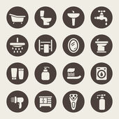Bathroom icon set — Vector de stock