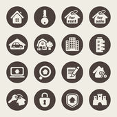 Real estate theme icons — Stock Vector