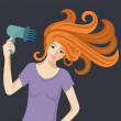 Redheaded woman with hairdryer. — Stock Vector #38316873