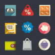 Flat icon set. Shopping. — Stock Vector