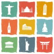 Stock Vector: Travel landmarks icons