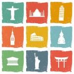 Travel landmarks icons — Stock Vector