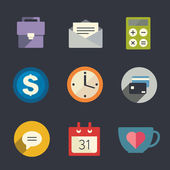 Flat icon set. Business. — Stok Vektör