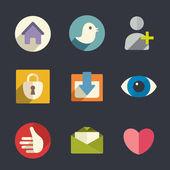 Flat icons. Social media. — Stock Vector